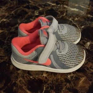 Nike pink and white toddler sneakers